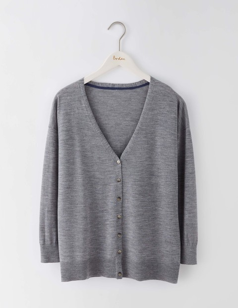 Fine Merino Cardigan Grey Melange Women, Grey Melange - neckline: low v-neck; pattern: plain; predominant colour: mid grey; occasions: casual, work, creative work; length: standard; style: standard; fibres: wool - 100%; fit: standard fit; sleeve length: long sleeve; sleeve style: standard; texture group: knits/crochet; pattern type: knitted - fine stitch; wardrobe: basic; season: a/w 2016