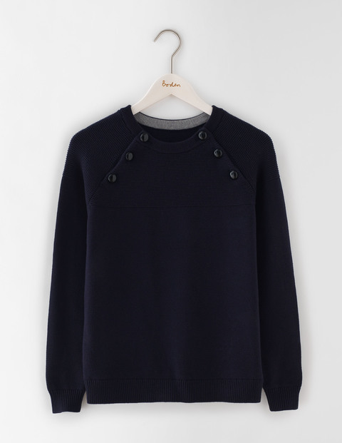 Chunky Button Jumper Navy Women, Navy - pattern: plain; style: standard; predominant colour: navy; occasions: casual; length: standard; fibres: wool - mix; fit: standard fit; neckline: crew; sleeve length: long sleeve; sleeve style: standard; texture group: knits/crochet; pattern type: fabric; season: a/w 2016