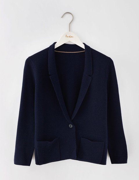 Merino Knitted Blazer Navy Women, Navy - pattern: plain; style: single breasted blazer; collar: standard lapel/rever collar; predominant colour: black; occasions: casual, creative work; length: standard; fit: straight cut (boxy); fibres: wool - 100%; sleeve length: long sleeve; sleeve style: standard; collar break: low/open; pattern type: fabric; texture group: woven light midweight; season: a/w 2016