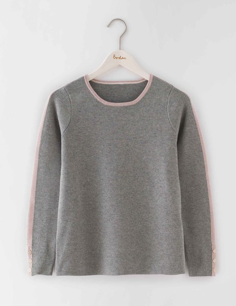 Tipped Button Cuff Jumper Grey Melange/Pink Pearl Women, Grey Melange/Pink Pearl - pattern: plain; style: standard; predominant colour: mid grey; occasions: casual; length: standard; fibres: cotton - mix; fit: slim fit; neckline: crew; sleeve length: long sleeve; sleeve style: standard; texture group: knits/crochet; pattern type: fabric; season: a/w 2016