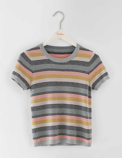 Textured Knit Top Check Women, Check - pattern: horizontal stripes; secondary colour: pink; predominant colour: mid grey; occasions: casual; length: standard; style: top; fibres: wool - mix; fit: body skimming; neckline: crew; sleeve length: short sleeve; sleeve style: standard; texture group: knits/crochet; pattern type: fabric; multicoloured: multicoloured; season: a/w 2016; wardrobe: highlight