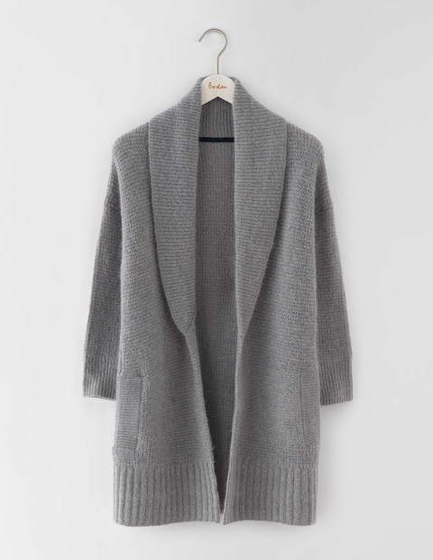 Shawl Collar Cardigan Grey Melange Women, Grey Melange - pattern: plain; neckline: shawl; predominant colour: mid grey; occasions: casual, creative work; style: standard; fibres: wool - mix; fit: loose; length: mid thigh; sleeve length: long sleeve; sleeve style: standard; texture group: knits/crochet; pattern type: knitted - fine stitch; wardrobe: basic; season: a/w 2016