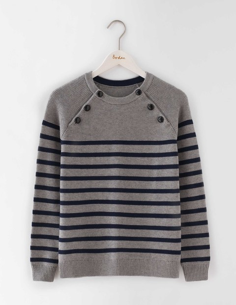 Chunky Button Jumper Grey Melange/Navy Stripe Women, Grey Melange/Navy Stripe - pattern: horizontal stripes; style: standard; secondary colour: navy; predominant colour: light grey; occasions: casual; length: standard; fibres: wool - mix; fit: standard fit; neckline: crew; sleeve length: long sleeve; sleeve style: standard; texture group: knits/crochet; pattern type: fabric; multicoloured: multicoloured; season: a/w 2016; wardrobe: highlight