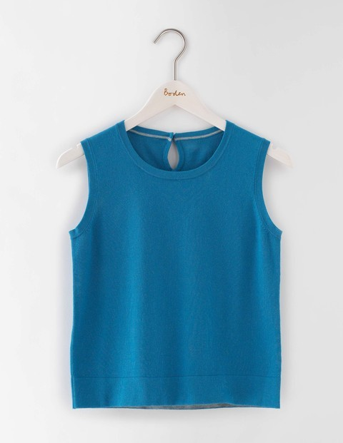 Favourite Knitted Tank Solstice Blue Women, Solstice Blue - pattern: plain; sleeve style: sleeveless; predominant colour: turquoise; occasions: casual; length: standard; style: top; fibres: cotton - mix; fit: body skimming; neckline: crew; sleeve length: sleeveless; texture group: knits/crochet; pattern type: fabric; season: a/w 2016; wardrobe: highlight