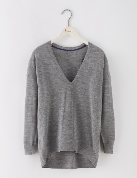 Fine Merino V Neck Jumper Grey Melange Women, Grey Melange - neckline: v-neck; pattern: plain; style: standard; predominant colour: mid grey; occasions: casual; length: standard; fibres: wool - 100%; fit: slim fit; sleeve length: long sleeve; sleeve style: standard; texture group: knits/crochet; pattern type: fabric; wardrobe: basic; season: a/w 2016