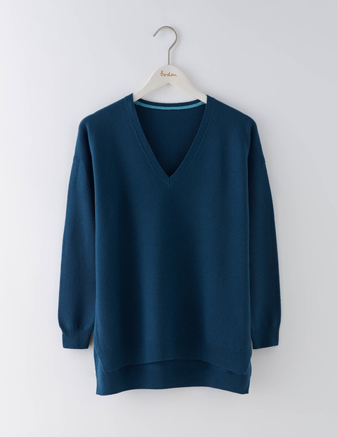 Textured V Neck Jumper Baltic Women, Baltic - neckline: v-neck; pattern: plain; style: standard; predominant colour: navy; occasions: casual, creative work; length: standard; fibres: cotton - mix; fit: standard fit; sleeve length: long sleeve; sleeve style: standard; texture group: knits/crochet; pattern type: knitted - fine stitch; wardrobe: basic; season: a/w 2016