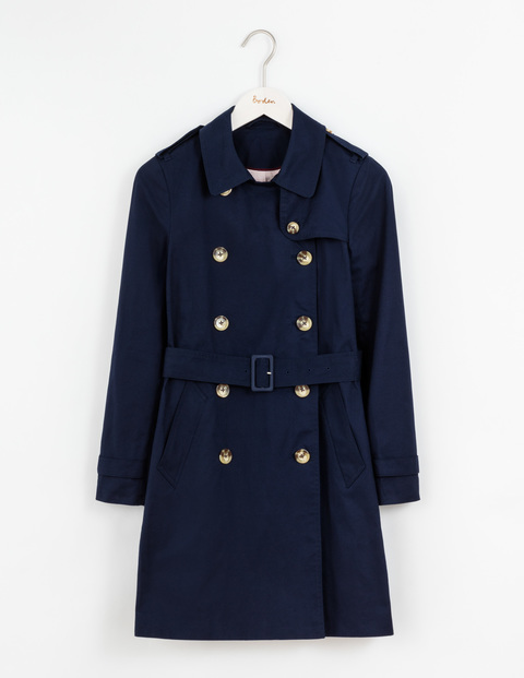 Abingdon Trench Navy Women, Navy - pattern: plain; style: trench coat; length: mid thigh; predominant colour: navy; occasions: casual, work, creative work; fit: tailored/fitted; fibres: cotton - 100%; collar: shirt collar/peter pan/zip with opening; waist detail: belted waist/tie at waist/drawstring; back detail: back vent/flap at back; sleeve length: long sleeve; sleeve style: standard; texture group: cotton feel fabrics; collar break: high/illusion of break when open; pattern type: fabric; season: a/w 2016