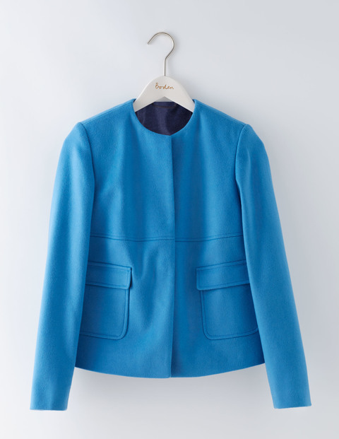 Claudia Collarless Jacket Solstice Blue Women, Solstice Blue - pattern: plain; collar: round collar/collarless; style: boxy; predominant colour: diva blue; length: standard; fit: straight cut (boxy); fibres: cotton - mix; sleeve length: long sleeve; sleeve style: standard; texture group: cotton feel fabrics; collar break: high; pattern type: fabric; occasions: creative work; wardrobe: investment; season: a/w 2016