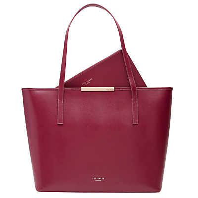 Kaci Large Leather Shopper Bag - occasions: work, creative work; type of pattern: standard; style: tote; length: shoulder (tucks under arm); size: standard; material: leather; pattern: plain; finish: plain; predominant colour: raspberry; season: s/s 2016; wardrobe: highlight