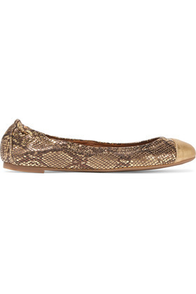 York Metallic Snake Effect Leather Ballet Flats Gold - predominant colour: gold; occasions: casual, creative work; material: leather; heel height: flat; toe: round toe; style: ballerinas / pumps; finish: metallic; pattern: animal print; season: a/w 2016