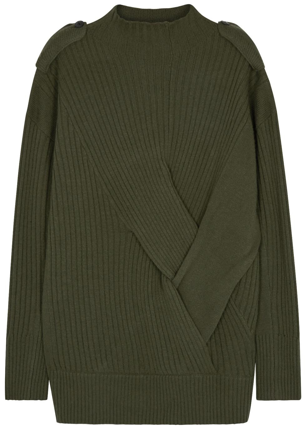 Dale Olive Ribbed Merino Wool Jumper Size - pattern: plain; neckline: high neck; shoulder detail: obvious epaulette; length: below the bottom; style: standard; predominant colour: khaki; occasions: casual, creative work; fibres: wool - 100%; fit: standard fit; sleeve length: long sleeve; sleeve style: standard; texture group: knits/crochet; pattern type: knitted - other; season: a/w 2016; wardrobe: highlight