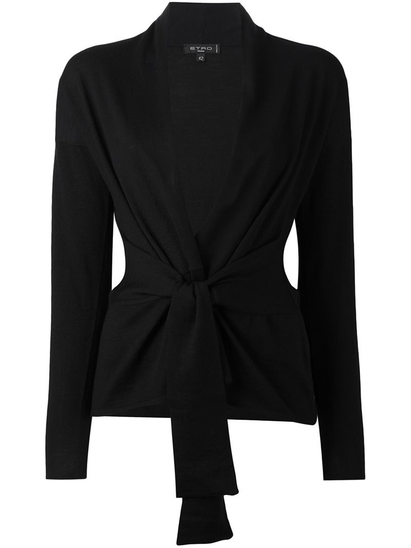 Knot V Neck Cardigan, Women's, Black - pattern: plain; neckline: collarless open; style: open front; predominant colour: black; occasions: casual, work, creative work; length: standard; fibres: wool - 100%; fit: slim fit; waist detail: belted waist/tie at waist/drawstring; sleeve length: long sleeve; sleeve style: standard; texture group: knits/crochet; pattern type: knitted - fine stitch; wardrobe: basic; season: a/w 2016
