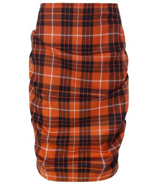 Tartan Tuck Mini Skirt - pattern: checked/gingham; style: pencil; fit: tailored/fitted; waist: mid/regular rise; predominant colour: bright orange; secondary colour: black; length: on the knee; fibres: wool - 100%; pattern type: fabric; texture group: woven light midweight; occasions: creative work; pattern size: big & busy (bottom); season: a/w 2016; wardrobe: highlight