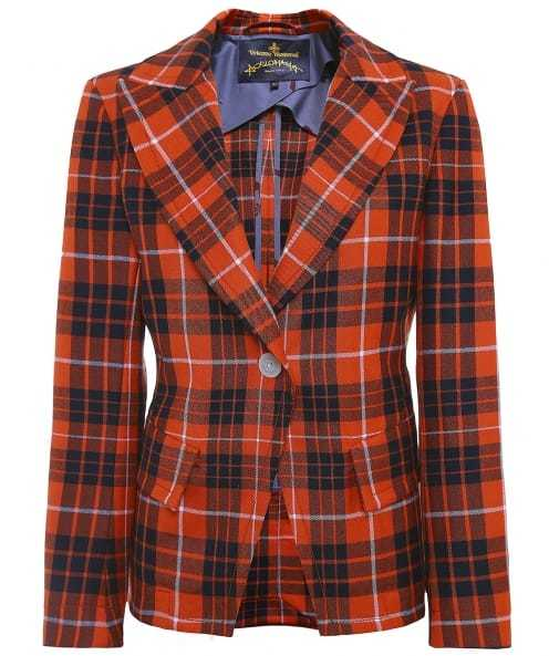 Tailored Tartan Jacket - pattern: checked/gingham; style: single breasted blazer; collar: standard lapel/rever collar; predominant colour: true red; secondary colour: black; occasions: casual; length: standard; fit: tailored/fitted; fibres: wool - 100%; sleeve length: 3/4 length; sleeve style: standard; collar break: medium; pattern type: fabric; texture group: woven light midweight; multicoloured: multicoloured; season: a/w 2016