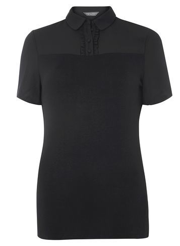 Womens **Tall Top With Peter Pan Collar Black - neckline: shirt collar/peter pan/zip with opening; pattern: plain; predominant colour: black; occasions: casual; length: standard; style: top; fibres: viscose/rayon - stretch; fit: body skimming; sleeve length: short sleeve; sleeve style: standard; pattern type: fabric; texture group: jersey - stretchy/drapey; wardrobe: basic; season: a/w 2016