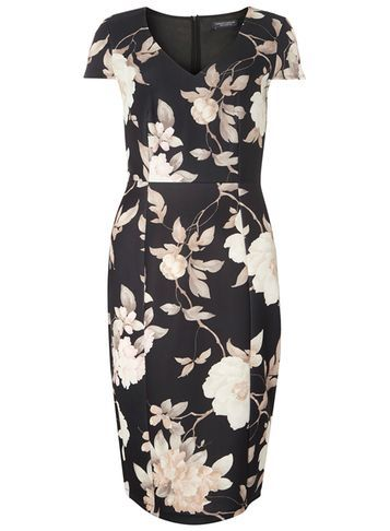 Womens **Tall Floral Printed Pencil Dress Black - style: shift; neckline: v-neck; sleeve style: capped; fit: tailored/fitted; secondary colour: stone; predominant colour: black; occasions: evening, occasion; length: on the knee; fibres: polyester/polyamide - stretch; sleeve length: short sleeve; pattern type: fabric; pattern size: standard; pattern: florals; texture group: jersey - stretchy/drapey; season: a/w 2016; wardrobe: event