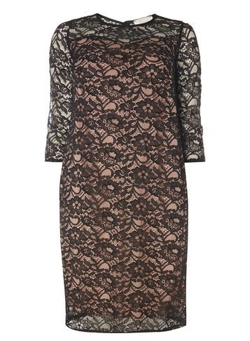 Womens **Bille & Blossom Curve Black Lace Dress Black - style: shift; length: mid thigh; pattern: plain; predominant colour: black; occasions: evening; fit: body skimming; neckline: crew; sleeve length: half sleeve; sleeve style: standard; texture group: lace; pattern type: fabric; pattern size: standard; fibres: viscose/rayon - mix; season: a/w 2016; wardrobe: event