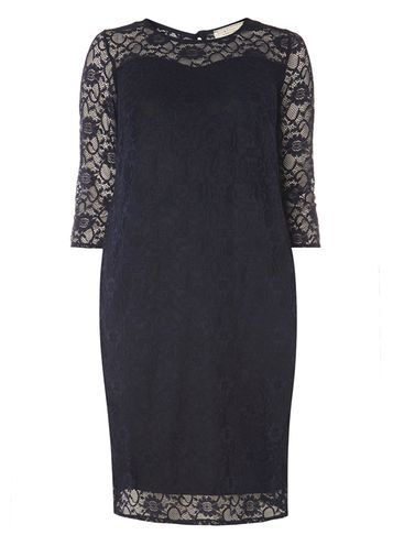 Womens **Billie & Blossom Curve Navy Lace Dress Navy - style: shift; length: mid thigh; pattern: plain; predominant colour: navy; occasions: evening; fit: body skimming; neckline: crew; sleeve length: half sleeve; sleeve style: standard; texture group: lace; pattern type: fabric; pattern size: standard; fibres: viscose/rayon - mix; shoulder detail: sheer at shoulder; season: a/w 2016; wardrobe: event