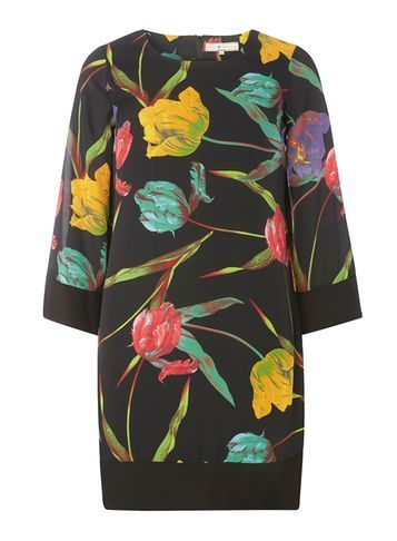 Womens **Billie & Blossom Black Tulip Print Kimono Tunic Dress Black - style: tunic; secondary colour: yellow; predominant colour: black; occasions: casual; fibres: polyester/polyamide - 100%; fit: body skimming; neckline: crew; length: mid thigh; sleeve length: 3/4 length; sleeve style: standard; texture group: sheer fabrics/chiffon/organza etc.; pattern type: fabric; pattern: florals; pattern size: big & busy (top); multicoloured: multicoloured; season: a/w 2016; wardrobe: highlight