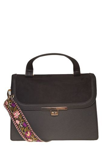 Womens Black Top Handle Satchel Bag Black - predominant colour: chocolate brown; occasions: casual, creative work; type of pattern: standard; style: satchel; length: handle; size: standard; material: faux leather; pattern: plain; finish: plain; wardrobe: basic; season: a/w 2016