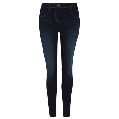 Dark Blue Skinny Fit Jeans - style: skinny leg; length: standard; pattern: plain; pocket detail: traditional 5 pocket; waist: mid/regular rise; predominant colour: navy; occasions: casual; fibres: cotton - stretch; jeans detail: dark wash; texture group: denim; pattern type: fabric; wardrobe: basic; season: a/w 2016