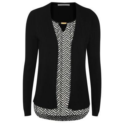 2 In 1 Top And Cardigan Black - secondary colour: white; predominant colour: black; occasions: casual; length: standard; neckline: peep hole neckline; fit: body skimming; sleeve length: long sleeve; sleeve style: standard; pattern type: knitted - other; pattern: patterned/print; texture group: jersey - stretchy/drapey; fibres: viscose/rayon - mix; style: mock top; multicoloured: multicoloured; season: a/w 2016; wardrobe: highlight