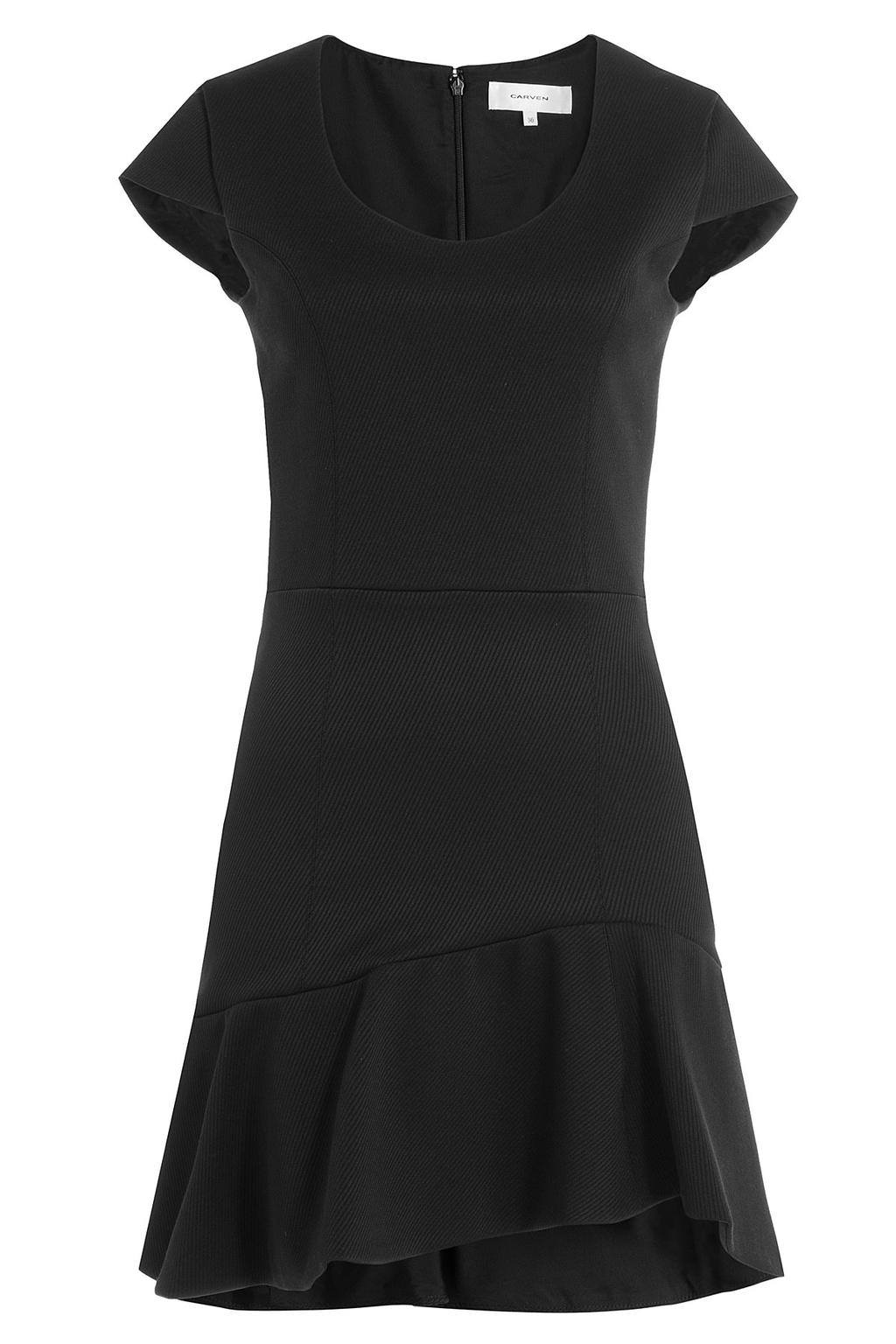 Dress With Ruffled Skirt - neckline: round neck; pattern: plain; predominant colour: black; occasions: evening; length: just above the knee; fit: fitted at waist & bust; style: fit & flare; fibres: polyester/polyamide - stretch; sleeve length: short sleeve; sleeve style: standard; pattern type: fabric; texture group: jersey - stretchy/drapey; season: a/w 2016; wardrobe: event