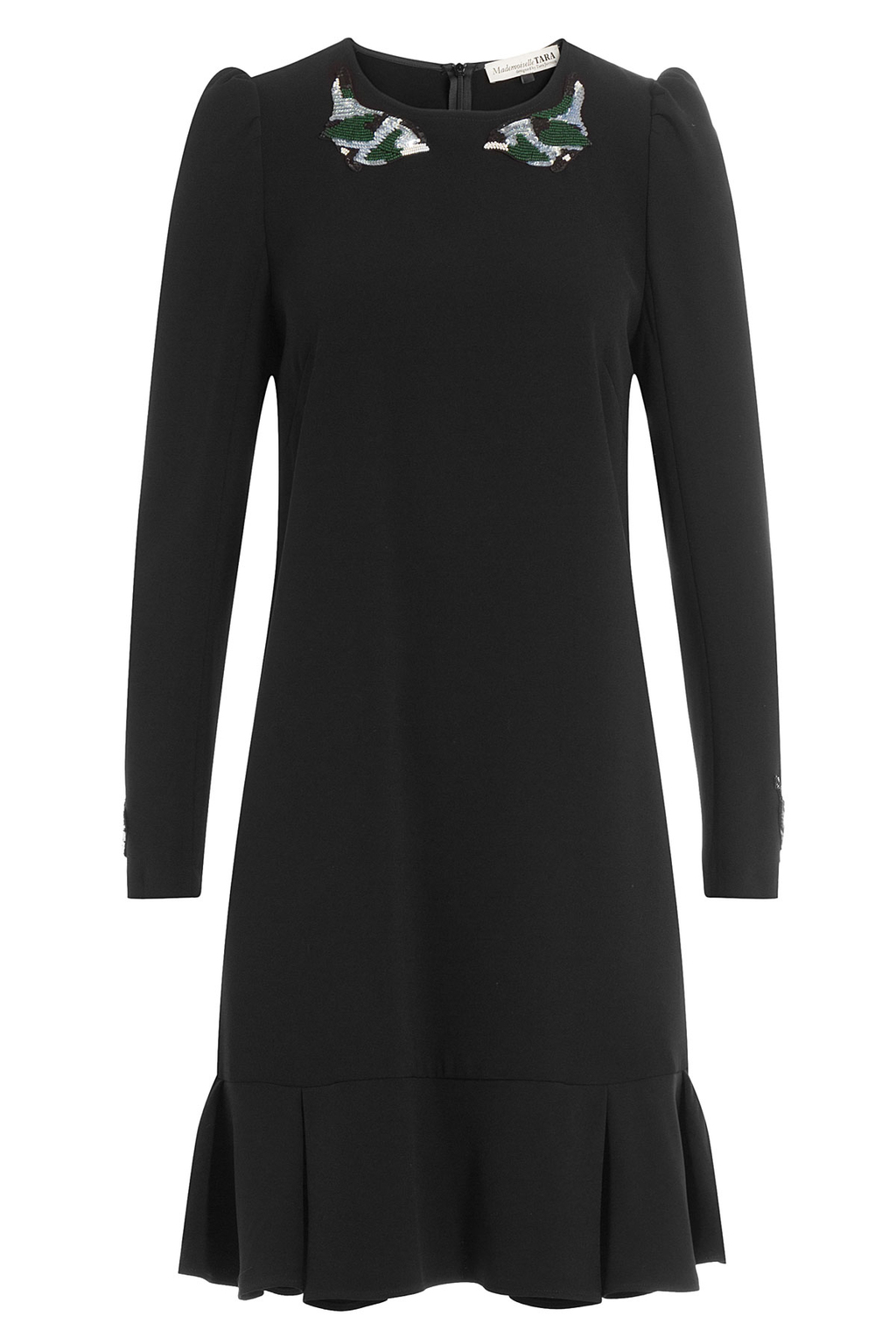 Dress With Sequins - length: mid thigh; pattern: plain; style: drop waist; secondary colour: silver; predominant colour: black; occasions: evening, creative work; fit: straight cut; fibres: polyester/polyamide - stretch; neckline: crew; sleeve length: long sleeve; sleeve style: standard; texture group: crepes; pattern type: fabric; embellishment: sequins; season: a/w 2016; wardrobe: highlight