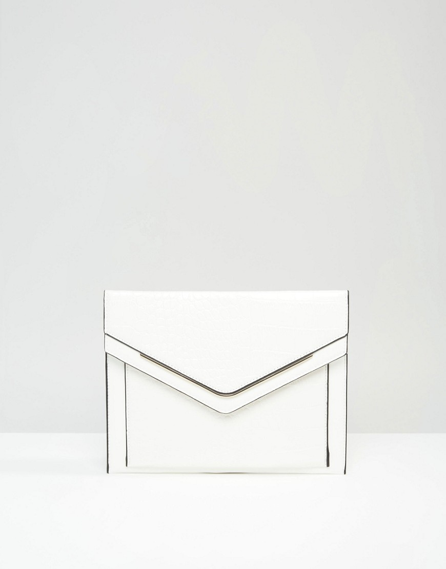 Croc Clutch Bag With Metal Trim White - predominant colour: white; occasions: evening, occasion; type of pattern: standard; style: clutch; length: hand carry; size: small; material: faux leather; pattern: plain; finish: plain; season: a/w 2016; wardrobe: event