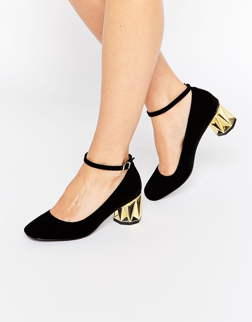 Sesame Velvet Heels Black Velvet - predominant colour: black; occasions: evening, occasion, creative work; material: suede; heel height: mid; ankle detail: ankle strap; heel: block; toe: round toe; style: courts; finish: plain; pattern: plain; wardrobe: investment; season: a/w 2016