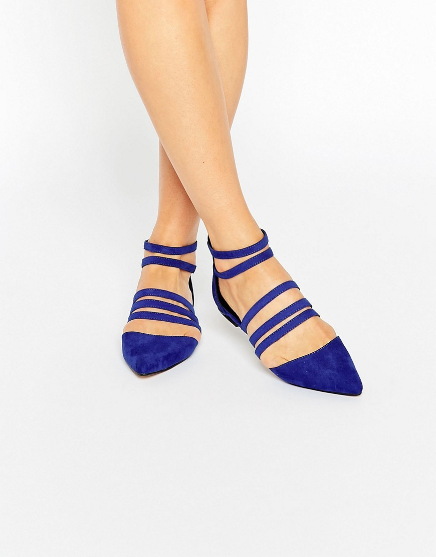 Libby Caged Ballet Flats Cobalt - predominant colour: royal blue; occasions: casual, creative work; material: suede; heel height: flat; ankle detail: ankle strap; toe: pointed toe; style: ballerinas / pumps; finish: plain; pattern: plain; season: a/w 2016; wardrobe: highlight