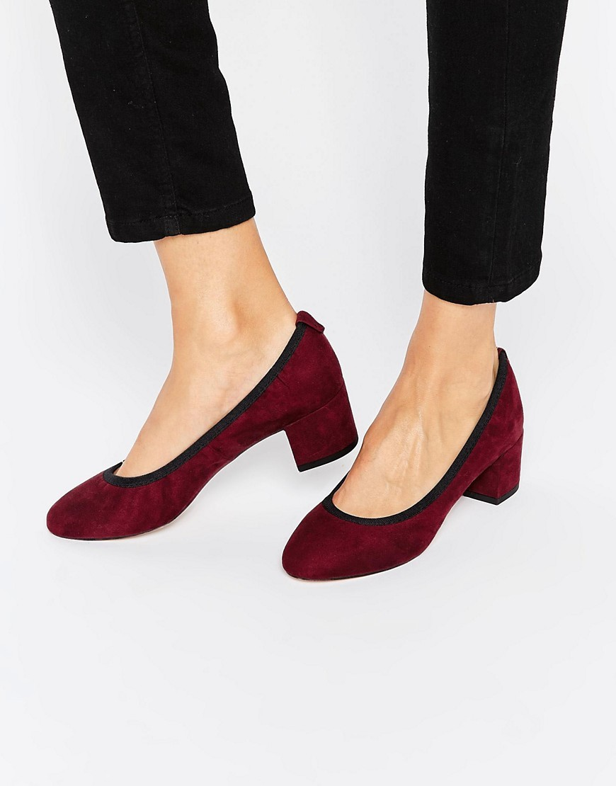 Simeon Heels Oxblood - predominant colour: burgundy; occasions: work, creative work; material: suede; heel height: mid; heel: block; toe: round toe; style: courts; finish: plain; pattern: plain; season: a/w 2016; wardrobe: highlight