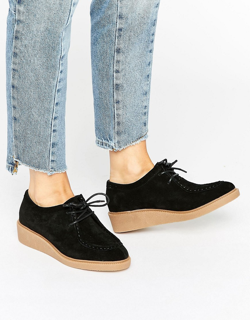 Mercury Suede Lace Up Flat Shoes Black - predominant colour: black; occasions: casual, creative work; material: suede; heel height: flat; toe: round toe; finish: plain; pattern: plain; style: lace ups; wardrobe: basic; season: a/w 2016