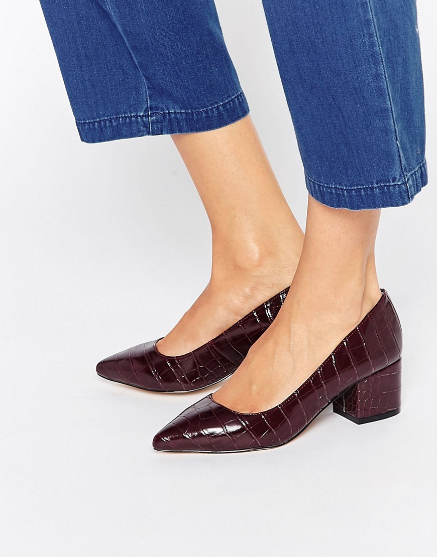 Knock Point Mid Heeled Shoes Wine Synthetic - predominant colour: aubergine; occasions: work, creative work; material: faux leather; heel height: mid; heel: block; toe: pointed toe; style: courts; finish: plain; pattern: animal print; season: a/w 2016; wardrobe: highlight