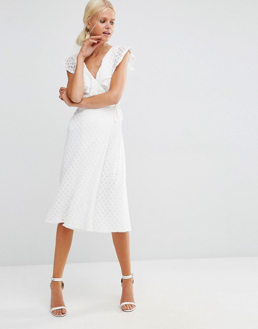 Lace Midi Dress With Ruffle Wrap White - style: faux wrap/wrap; length: below the knee; neckline: low v-neck; sleeve style: capped; waist detail: belted waist/tie at waist/drawstring; predominant colour: white; occasions: evening, occasion; fit: soft a-line; fibres: polyester/polyamide - 100%; hip detail: subtle/flattering hip detail; sleeve length: short sleeve; texture group: lace; pattern type: fabric; pattern size: standard; pattern: patterned/print; season: a/w 2016; wardrobe: event