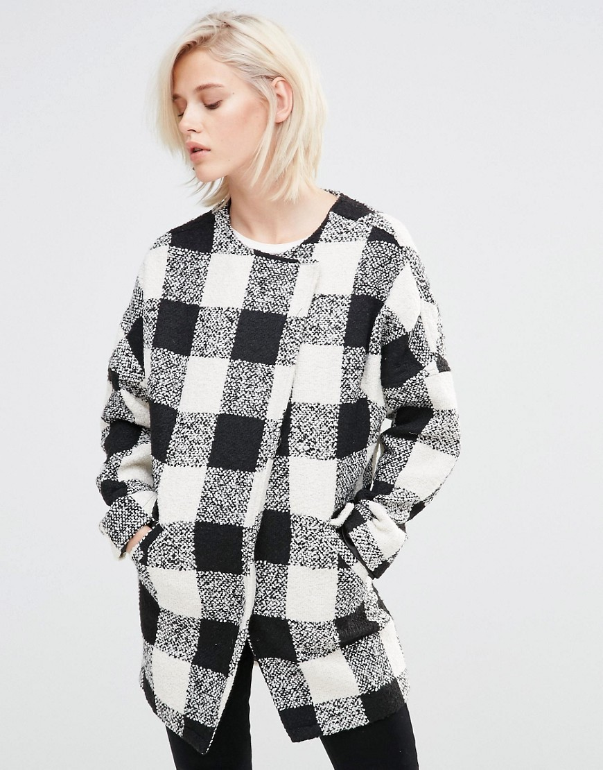 Checked Coat Black/White - pattern: checked/gingham; collar: round collar/collarless; fit: loose; hip detail: fitted at hip; length: mid thigh; secondary colour: white; predominant colour: black; occasions: casual; style: cocoon; fibres: polyester/polyamide - 100%; sleeve length: long sleeve; sleeve style: standard; trends: monochrome; collar break: high; pattern type: fabric; texture group: woven bulky/heavy; multicoloured: multicoloured; season: a/w 2016; wardrobe: highlight