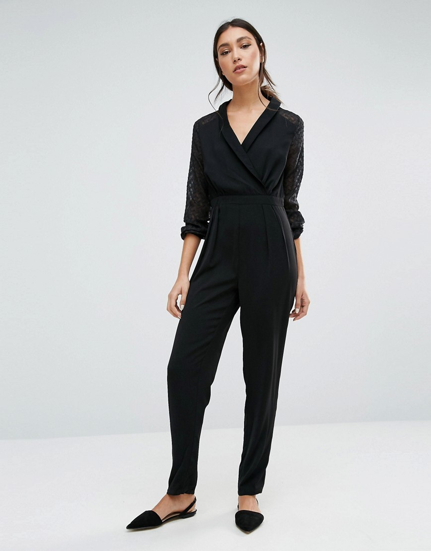 Jumpsuit With Lace Sleeves Black - length: standard; neckline: v-neck; pattern: plain; predominant colour: black; occasions: evening; fit: body skimming; fibres: polyester/polyamide - 100%; sleeve length: long sleeve; sleeve style: standard; style: jumpsuit; pattern type: fabric; texture group: jersey - stretchy/drapey; season: a/w 2016; wardrobe: event
