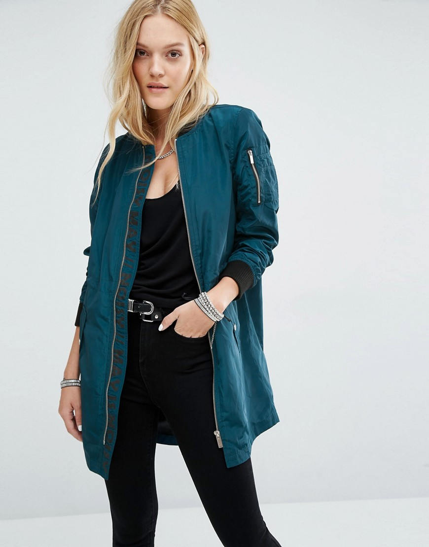 Longline Bomber Jacket Reflecting Pond - pattern: plain; collar: round collar/collarless; fit: loose; length: below the bottom; style: bomber; predominant colour: teal; occasions: casual; fibres: polyester/polyamide - 100%; sleeve length: long sleeve; sleeve style: standard; collar break: high; pattern type: fabric; texture group: woven light midweight; season: a/w 2016; wardrobe: highlight