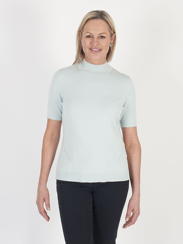 Basler Fine Knit Turtle Neck Jumper - pattern: plain; neckline: high neck; style: standard; predominant colour: pale blue; occasions: casual, work, creative work; length: standard; fit: standard fit; sleeve length: half sleeve; sleeve style: standard; texture group: knits/crochet; pattern type: knitted - fine stitch; fibres: viscose/rayon - mix; season: a/w 2016; wardrobe: highlight