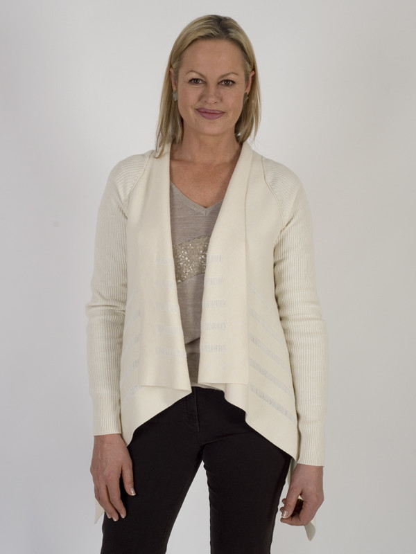 Isabel De Pedro Merino Blend Ivory Waterfall Cardigan - pattern: plain; neckline: collarless open; style: open front; predominant colour: ivory/cream; occasions: casual, work, creative work; length: standard; fibres: polyester/polyamide - mix; fit: loose; sleeve length: long sleeve; sleeve style: standard; texture group: knits/crochet; pattern type: knitted - fine stitch; wardrobe: basic; season: a/w 2016