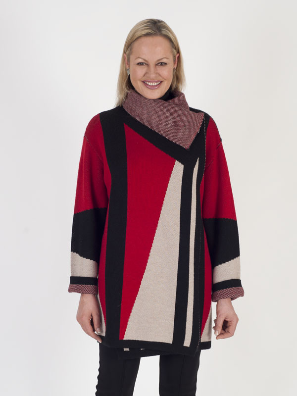 Isabel De Pedro Oversized Knit Cardigan Coat - neckline: high neck; style: wrap; length: below the bottom; predominant colour: true red; secondary colour: black; occasions: casual; fibres: cotton - mix; fit: loose; sleeve length: long sleeve; sleeve style: standard; texture group: knits/crochet; pattern type: knitted - other; pattern: colourblock; multicoloured: multicoloured; season: a/w 2016