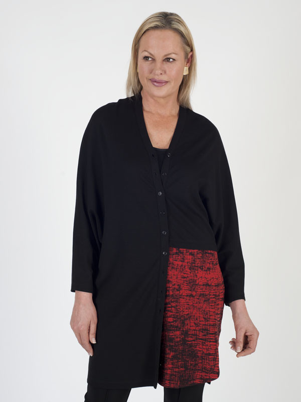 Isabel De Pedro Long Line Jersey Cardigan - neckline: low v-neck; secondary colour: true red; predominant colour: black; occasions: casual, creative work; style: standard; fibres: viscose/rayon - stretch; fit: loose; length: mid thigh; sleeve length: long sleeve; sleeve style: standard; texture group: knits/crochet; pattern type: knitted - fine stitch; pattern size: light/subtle; pattern: patterned/print; season: a/w 2016; wardrobe: highlight