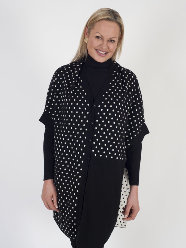 Isabel De Pedro Cape Style Fine Knit Cardigan - neckline: low v-neck; pattern: polka dot; secondary colour: white; predominant colour: black; occasions: casual, creative work; style: standard; fibres: polyester/polyamide - mix; fit: loose; length: mid thigh; sleeve length: half sleeve; texture group: knits/crochet; pattern type: knitted - fine stitch; pattern size: standard; sleeve style: cape/poncho sleeve; season: a/w 2016