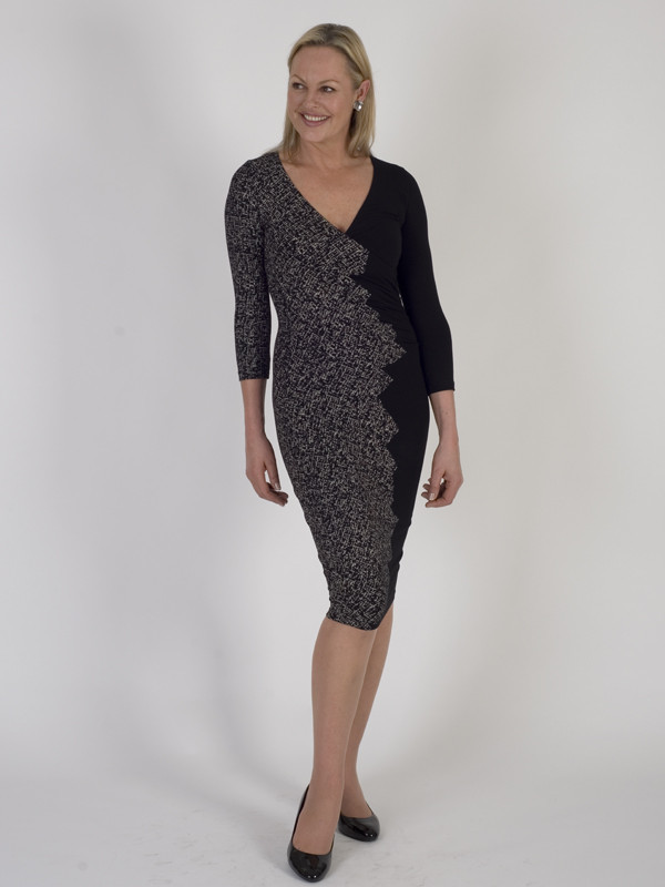 Isabel De Pedro Side Ruching Detail Jersey Dress - length: below the knee; neckline: v-neck; fit: tight; style: bodycon; secondary colour: charcoal; predominant colour: black; occasions: evening; fibres: viscose/rayon - stretch; sleeve length: 3/4 length; sleeve style: standard; texture group: jersey - clingy; pattern type: fabric; pattern: patterned/print; multicoloured: multicoloured; season: a/w 2016; wardrobe: event
