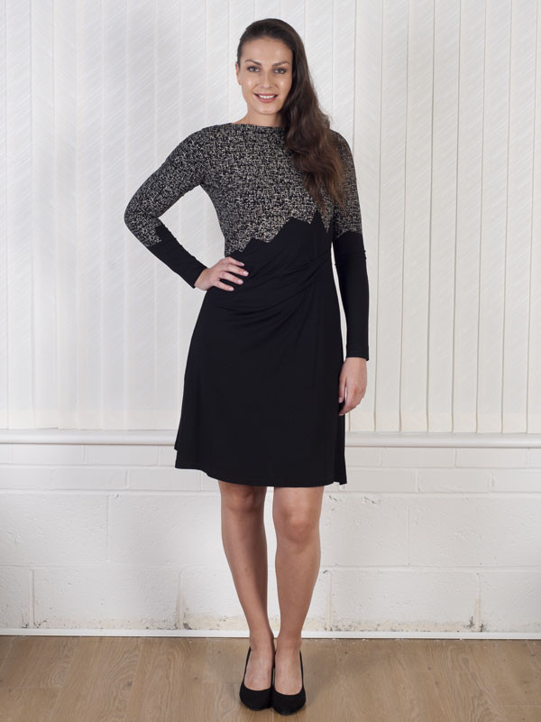 Isabel De Pedro Long Sleeve Jersey Dress - pattern: plain; secondary colour: charcoal; predominant colour: black; occasions: evening; length: just above the knee; fit: fitted at waist & bust; style: fit & flare; fibres: viscose/rayon - stretch; neckline: crew; sleeve length: long sleeve; sleeve style: standard; pattern type: fabric; texture group: jersey - stretchy/drapey; multicoloured: multicoloured; season: a/w 2016; wardrobe: event