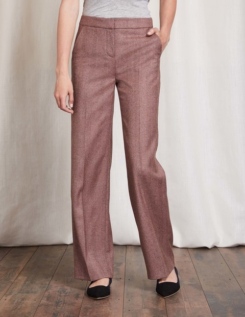 British Tweed Wide Leg Trouser Pink Herringbone Women, Pink Herringbone - length: standard; waist: high rise; pattern: herringbone/tweed; occasions: work, creative work; fibres: wool - 100%; fit: wide leg; pattern type: fabric; texture group: tweed - light/midweight; style: standard; predominant colour: dusky pink; pattern size: big & busy (bottom); season: a/w 2016; wardrobe: highlight