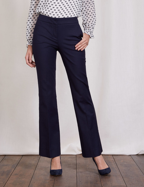 Richmond Bootcut Trousers Navy Women, Navy - length: standard; pattern: plain; waist: high rise; predominant colour: navy; occasions: work; fibres: cotton - 100%; fit: bootcut; pattern type: fabric; texture group: woven light midweight; style: standard; wardrobe: basic; season: a/w 2016