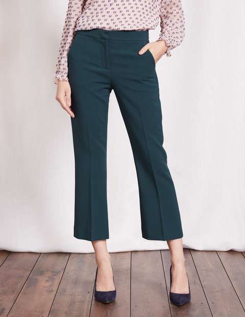 Crop Flare Trouser Seaweed Women, Seaweed - pattern: plain; waist: high rise; predominant colour: dark green; occasions: work, creative work; length: calf length; fibres: cotton - 100%; fit: straight leg; pattern type: fabric; texture group: woven light midweight; style: standard; season: a/w 2016; wardrobe: highlight