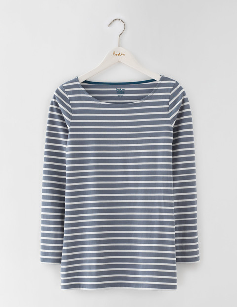 Long Length Long Sleeve Breton Thunder/Ivory Women, Thunder/Ivory - neckline: slash/boat neckline; pattern: horizontal stripes; length: below the bottom; secondary colour: ivory/cream; predominant colour: denim; occasions: casual, creative work; style: top; fibres: cotton - 100%; fit: straight cut; sleeve length: long sleeve; sleeve style: standard; pattern type: fabric; pattern size: standard; texture group: jersey - stretchy/drapey; season: a/w 2016