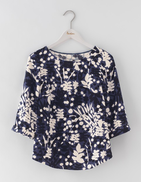 Rachel Top Aristocratic Blue Stamp Floral Women, Aristocratic Blue Stamp Floral - neckline: slash/boat neckline; length: below the bottom; secondary colour: ivory/cream; predominant colour: navy; occasions: casual, creative work; style: top; fibres: polyester/polyamide - 100%; fit: straight cut; sleeve length: 3/4 length; sleeve style: standard; pattern type: fabric; pattern size: standard; pattern: patterned/print; texture group: other - light to midweight; season: a/w 2016